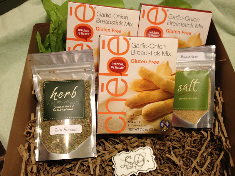 So lucky gluten free gift baskets im a celiac it came with 3 boxes of chebe garlic onion breadstick mix an italian herb mix and a garlic salt packet negle Image collections